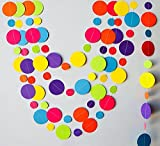 #9: Rainbow Garland, Paper Garland, Birthday Decorations, Birthday Party Garland, Yellow, Blue, Turquoise, Orange, Lime Green, Red And White