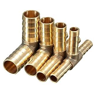 Alamor 6mm 8mm 10mm 12mm Messing T-Stück 3-Wege-Kraftstoffschlauch Verbindungsstück Für Luft-Öl-Gas-6mm
