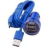 C.D.R. 1 x Marken-Daten/Ladekabel Micro USB der Firma Golf + Kfz Adapter für alle Navigationssysteme mit Micro USB und Mini USB Anschluss Blaupunkt, Becker, Falk, TomTom in 4 Farben erhältlich (blau)