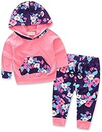 Ropa Bebé , Amlaiworld Bebé Niñas con capucha floral Tops + pantalón trajes ropa conjunto 0-24 Mes