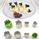 8 PCS Gemüse Obst Ausstechformen Ausstecher Cutter Edelstahl +6 PCS Mini Obst Gabeln Set Backzubehör für Kinder Partei Küche Hause