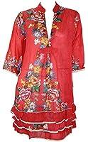 #797 Damen Tunika Maxi Blumenmuster Bluse Kleid Shirt Blusenkleid 36/38 40/42