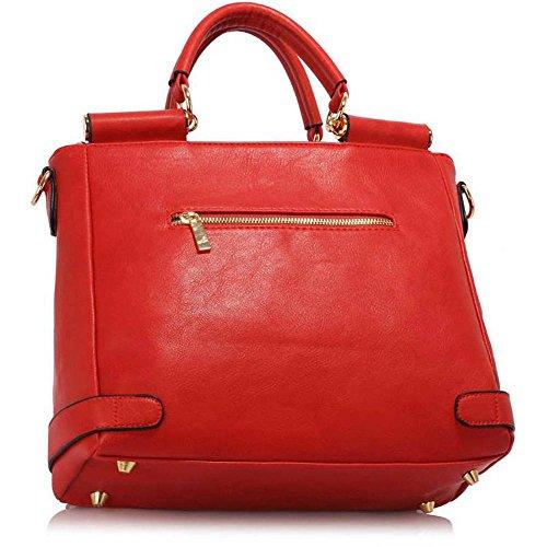 Neu Frauen Entwerfer Handtaschen Damen imitat Leder Schulter für Leinentrage Greifer Taschen Z Rot 2