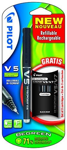 pilot-v5-rechargeable-begreen-x-1-noir-1-tui-offert-stylo-roller-encre-liquide-non-rtractable-noir