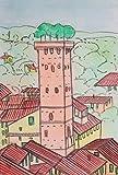 Torre Guinigi (Lucca)-Dipinto fatto a mano su cartoncino telato eseguito con tecnica ad acquerello dimensioni cm 20x30x0,3 cm. Made in Italy,Toscana,Lucca.Certificato.Dipinto da Davide Pacini.