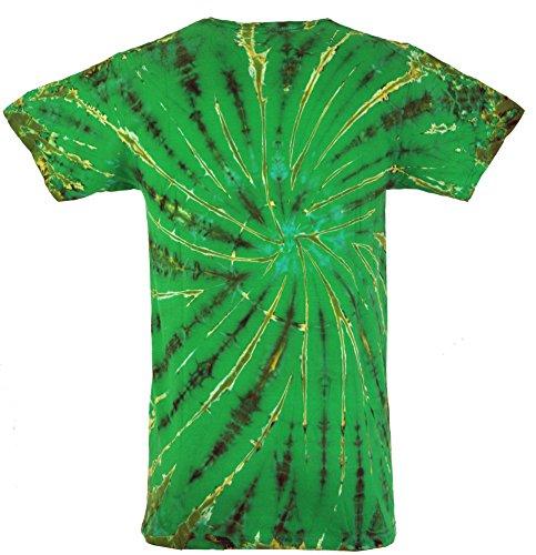 Guru-Shop Batik T Shirt, Herren Kurzarm Tie Dye Shirt, Baumwolle, Rundhals Ausschnitt Alternative Bekleidung Lemon