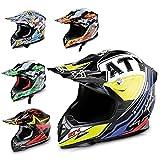 HECHT Motocrosshelm 52915 Motorrad-Helm Enduro ABS Quadhelm (XS (53-54 cm), gelb/schwarz/violett)