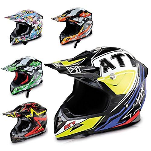 HECHT Motocrosshelm 52915 Motorrad-Helm Enduro ABS Quadhelm (M (57-58 cm), gelb/schwarz/violett)