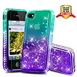 Atump Coque iPhone 4, Coque iPhone 4S avec Protecteur d'écran, Diamant Liquide Paillette Transparente 3D Silicone Gel Antichoc Kawaii Étui Fille Personnalisé pour iPhone 4 / 4S Green/Purple