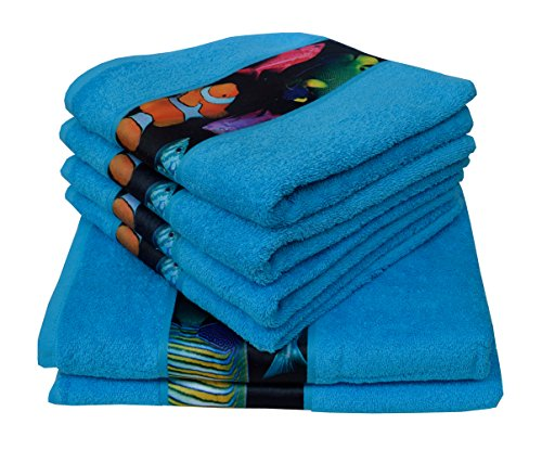 Dyckhoff 756496400, 6 teilig, Fische, blau Qualität, 450 g/m², 2 Badetücher, Duschtücher 70 x 140 cm und 4 Handtücher 50 x 100 cm, 100% Baumwolle