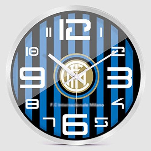 Inter Mailand Fußball Wanduhr, Schlafzimmer Wohnzimmer kreative Mode Stille Quarzuhr (12 Zoll, 14 Zoll) (Farbe : C, größe : 14inch) (Inter-fußball)