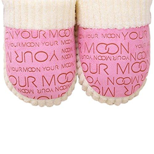 Amlaiworld Morbide pantofole per Donna,Scarpe Anti-scivolo cotone imbottito Rosa