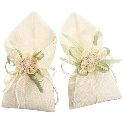 C.x.y. 20x sacchetto portaconfetti calle con lino tessuto fiocco fiore bomboniera (avorio)