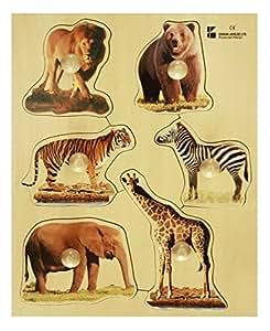 Doron Layeled Large Peg Wooden Puzzle - Wild Animals