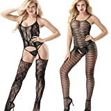 Amoure 2 Pack Medias Mujer Sexy Ropa Erótica, Ropa Interior para Mujer Jacquard Weave Fishnet Lingerie Leopardo Colgante Cuello Bodystockings Perspectiva Underwear
