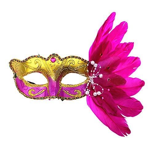 OYJJ Halloween-Make-up-Ball, flauschig, bemalte Maske, Zeichnung, Make-up, Tanzkostüm, Requisiten, Urlaubskleid (weiß) rosarot