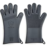 Premium Silicone BBQ & Grill Gloves   34,3 cm Long   Best Barbecue & Oven Mitts   Heat Resistant Gloves for Grilling & Cooking   Great Gift for Men (Size S/M -see chart, 1 Pair, Charcoal Gray)