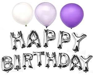 happy birthday in silber geburtstag folienballon luftballon heliumballon 16 zoll. Black Bedroom Furniture Sets. Home Design Ideas