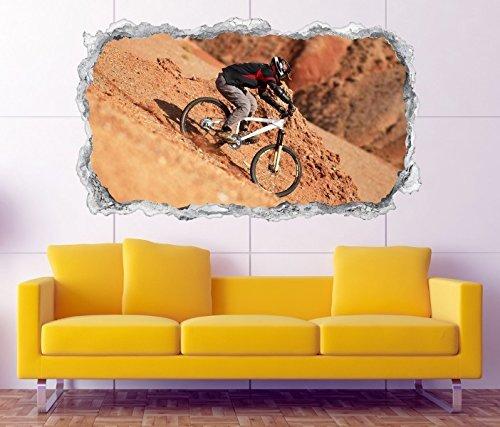 3D Wandtattoo Downhill Biking Mountainbike Wand Aufkleber Durchbruch Stein selbstklebend Wandbild Wandsticker 11N221, Wandbild Größe F:ca. 97cmx57cm