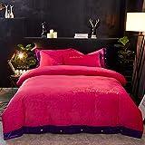 GAOXUE Bettwäsche-Set,Double-Faced Plüsch Doppelbett gesetzt, gestickte Kurze Plüsch König Bettbezug Kissenbezug und Bettwäsche @ Red 8_150 * 200cm (3pcs)