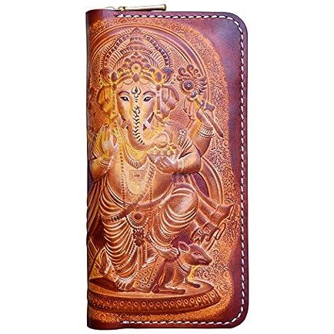 OLG.YAT® Pflanzlich gegerbtes Leder Geldbörse Portemonnaie Börse Brieftasche Handgefertigt Retro 20.5*10.5*4cm OLG-WLXSH