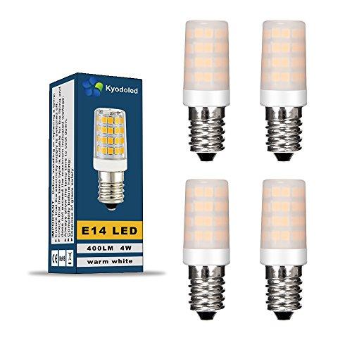 Halogen-bi-pin-lampe (LED Lampe Birne E14 Energiesparlampe mit milchigem Schirm, 4 Watt ersetzt diese LED 30W Halogen-Lampe, 400 Lumen, AC 220V-240V, 3000K, Bi-Pin Lampe, warmweiß, 4 Stück in jeder Packung, SMD 51 x 2835 Leds, 330º Abstrahlwinkel)