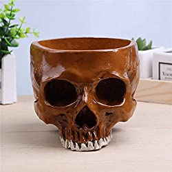 WESTHL 1: 1cráneo Humano Maceta macetas de Almacenamiento, Adorno de Resina decoración del hogar fósiles de Huesos Calavera Flores, marrón