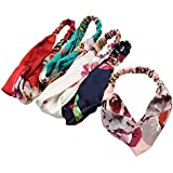 IWenSheng 5 PCS Women's Headbands Elastic Boho Printed Floral Turban Twisted Head Wraps Hair Accessories (5 Pcs)