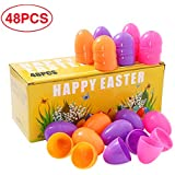 ThinkMax Easter Eggs, Fillable Plastic Surprise Eggs, Assorted Colors, Pack of 48, Ideal for Kids Egg Hunt
