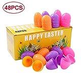 ThinkMax Uova di Pasqua con Filler, Uova Sorpresa riempite con Mini Giocattoli, Ideali per la Caccia all'uovo dei Bambini (48 Pezzi Uova)