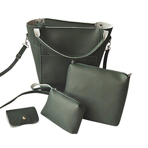 BZLine® 4Pcs Frauen-Muster-Leder-Handtasche + Umhängetasche + Messenger Bag + Card-Paket Grün