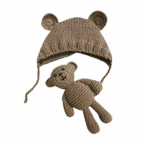 Neugeborene Fotoshooting Kostüm Baby Häkel Hut Mütze mit Bär (Khaki, 0-6 Monate)
