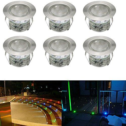 6pcs Ø45mm Luz LED Foco empotrable al Aire Libre 1W IP67 Impermeable Iluminación para Exterior Jardín Patio Césped Paisaje con Control Remoto (Colores Cambiables)