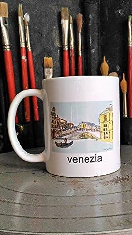 Venezia-Tassen 1 Keramik die Rialto-Brücke in Venedig mit der Siebdrucktechnik realisiert, Abmessungen cm 8x9,4cm Original -zeicheninstrumente erstellt von Künstler Davide Pacini, Toskana, Lucca.