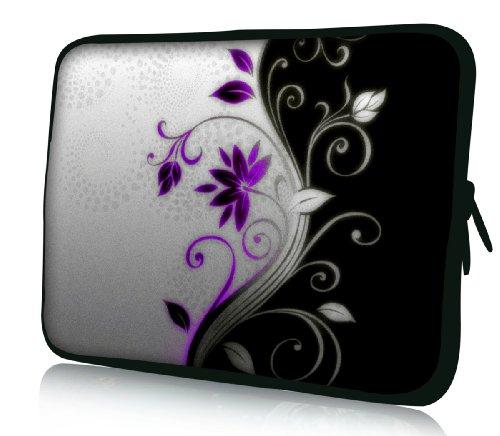 Luxburg® Design Funda Blanda Bolso Sleeve para Ordenador Portátil/MacBook de 15,6 pulgadas, motivo: Flores lila/blancas