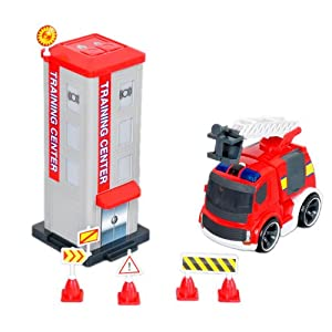Silverlit 81137 - Parque de bomberos (incluye camión de bomberos teledirigido por infrarrojos con sonido)