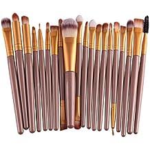 Internet 20 Pcs/ Set Maquillage Internet Make-up Brush Set Outils Trousse de Toilette en Iaine Pinceaux Set de Couleur D'or