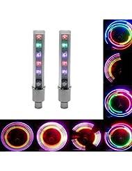 1X 2 piezas Colores del neumático de la rueda linterna LED válvula elegante decoración del casquillo de la bicicleta