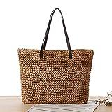 COIN Stroh Strandtasche mit Reißverschluss Gestrickte Shopper Damen Korbtasche Schultertasche Sommer Strand Umhängetasche für Frauen Natur