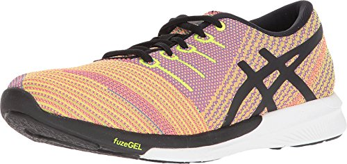 ASICS - Fuzex Knit Donna, Rosa (Flash Coral/Black/Safety Yellow), 44 EU