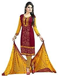 K Designer Women's Chiffon Unstitched Dress Material (mehak7009b_Multi-coloured_Freesize)