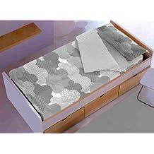Saco nórdico CON relleno NUBES GRIS para cama 90 x 190 / 200 + 1 funda de almohada. Saco unido a la bajera con cremallera. Con relleno nórdico.