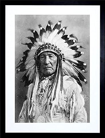 9x7 '' PHOTO NATIVE AMERICAN INDIAN MOUNTAIN CHIEF FRAMED ART PRINT F97X1740