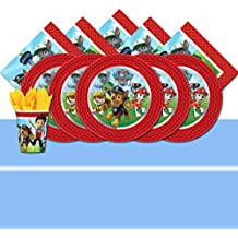 Paw Patrol - Lote de artículos de fiesta, diseño de Patrulla Canina (para 8 invitados), color azul