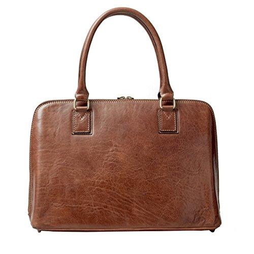 Maxwell Scott Bags® Leder Laptoptasche für Damen in Dunkelbraun (Fiorella) Cognac