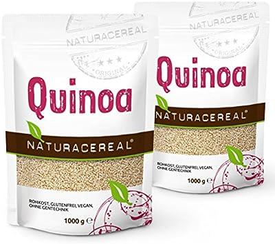 NATURACEREAL - Quinoa Blanca Premium (2 x 1kg) -   Mayor contenido de minerales que el arroz,   Rico en fibras y proteínas   Libre de gluten   Vegano   Sin ingeniería genética  