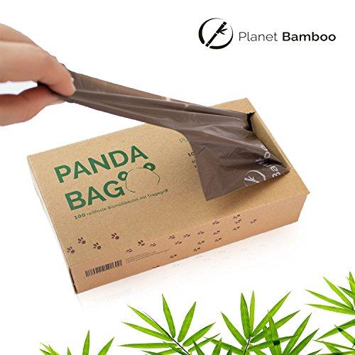 Planet Bamboo: Kompostierbare Bio-Müllbeutel (7 bis 10 L mit Tragegriff | 100 Stück | Braun) 100% kompostierbar nach EN 13432 - 4
