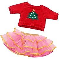 Gazechimp Set de Ropa Suéter Top Rojo + Falda Plisada de Tul de Encaje para 18 Pulgadas American Girl Muñeca