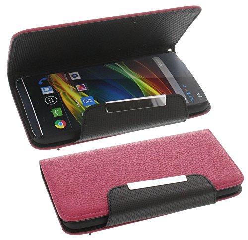 Tasche für Wiko Slide Book Style Metall pink Kreditkarte Schutz Hülle Buch