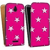 HTC Desire 510 Tasche Hülle Flip Case Stern Pink Muster